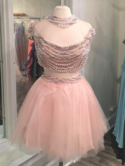 BohoProm homecoming dresses Unique Tulle Jewel Neckline 2 Pieces A-line Homecoming Dresses With Pearls HD069