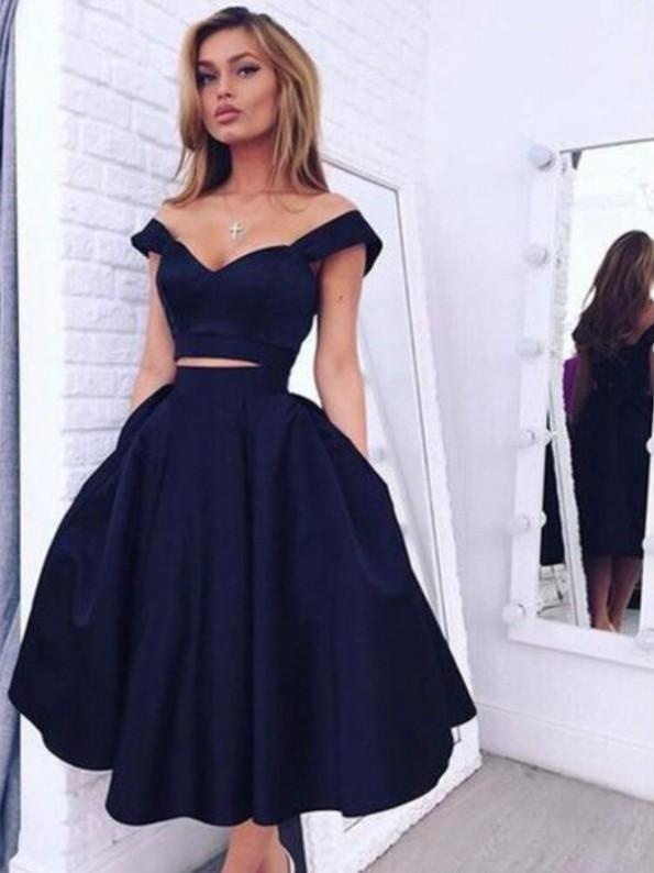BohoProm homecoming dresses Wonderful Satin Off-the-shoulder Neckline Tea-length A-line Homecoming Dress HD070