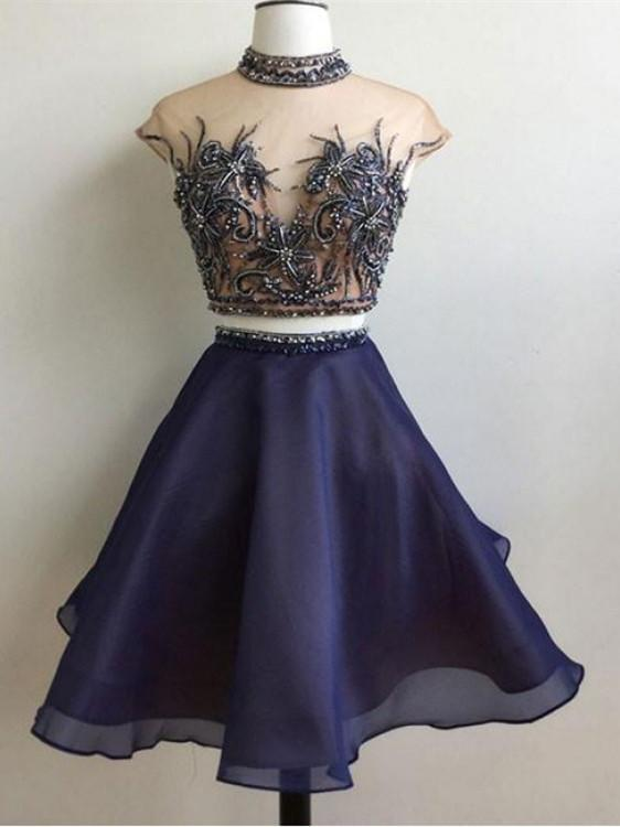 BohoProm homecoming dresses Wonderful Tulle High-neck 2 Pieces A-line Homecoming Dresses HD190