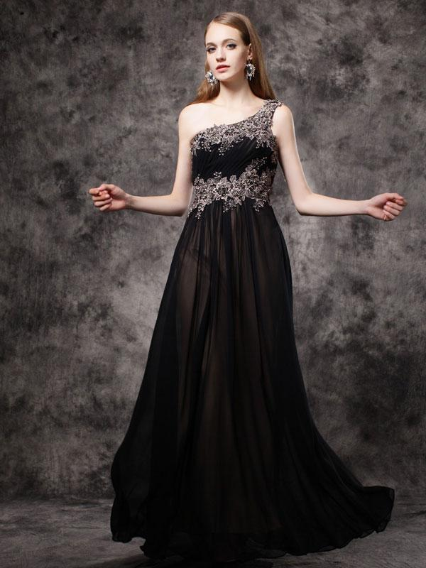 BohoProm prom dresses A-line Asymmetric Floor-Length Chiffon Appliqued Rhine Stone Prom Dress 3123