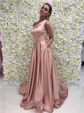 BohoProm prom dresses A-line Asymmetric Sweep Train Satin Simple Prom Dresses 2800