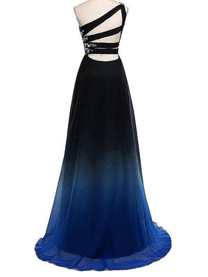 BohoProm prom dresses A-line  Asymmetric Sweep Train Tulle Rhinestone Pleats Prom Dresses 2875