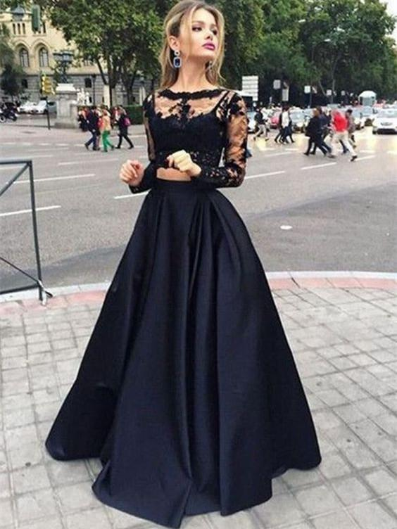 BohoProm prom dresses A-line Bateau Floor-Length Satin Black Two Piece Prom Dresses HX0061