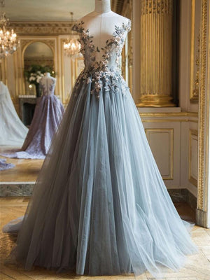 BohoProm prom dresses A-line Bateau Floor-Length Tulle Appliqued Long Prom Dresses HX0044