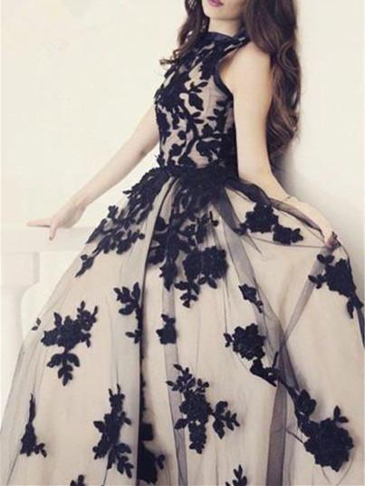 BohoProm prom dresses A-line Bateau Floor-length Tulle Appliqued Prom Dresses HX00147