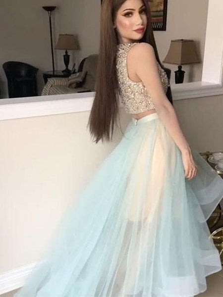 BohoProm prom dresses A-line Bateau Sweep Train Organza Sequined Two Piece Prom Dress 3059