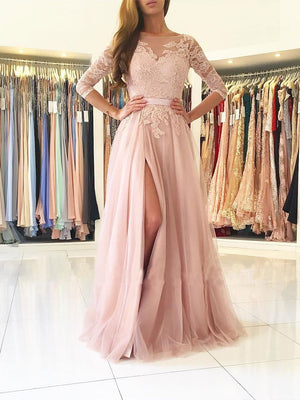 BohoProm prom dresses A-line Bateau Sweep Train Tulle Split Appliqued Prom Dresses 2792