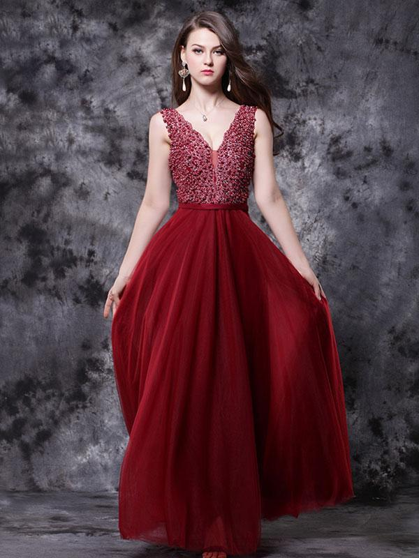 BohoProm prom dresses A-line Deep-V Floor-Length Chiffon Beaded Prom Dress 3124