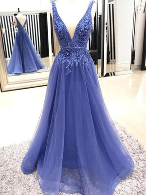 BohoProm prom dresses A-line Deep-V Floor-length Organza Prom Dresses With Beading HX00159