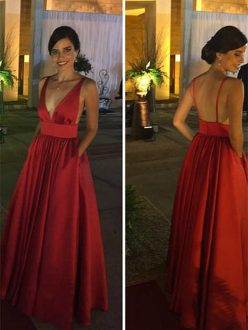 BohoProm prom dresses A-line Deep-V Floor-Length Satin Red Simple Prom Dresses HX0086