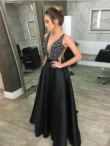 BohoProm prom dresses A-line Deep-V Floor-Length Satin Rhine Stone Black Prom Dress 3092