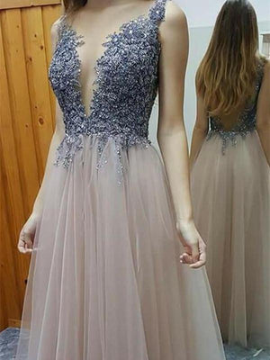 BohoProm prom dresses A-line Deep-V Floor-length Tulle Appliqued Prom Dresses HX00148