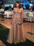 BohoProm prom dresses A-line Deep-V Floor-Length Tulle  Prom Dresses With Appliques HX00104