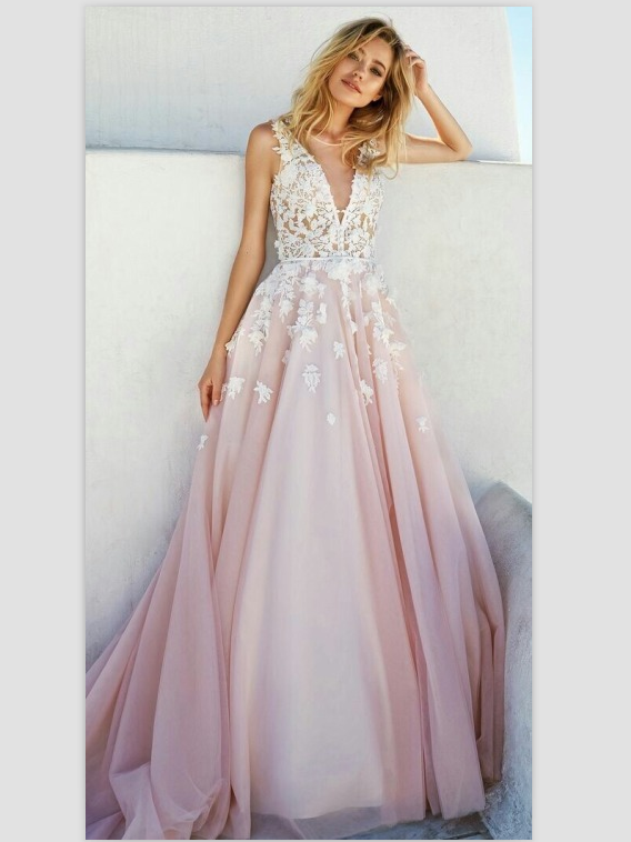 BohoProm prom dresses A-line Deep-V Sweep Train Chiffon Appliqued Prom Dresses ASD26813