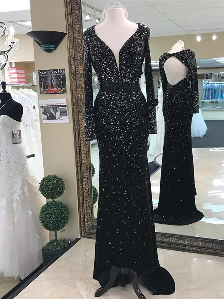 BohoProm prom dresses A-line Deep-V Sweep Train Chiffon Beaded Black Prom Dresses APD27009
