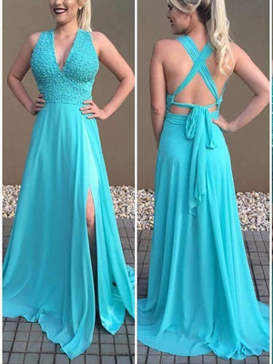BohoProm prom dresses A-line Deep-V Sweep Train Chiffon  Beaded Elegant Prom Dresses 2786
