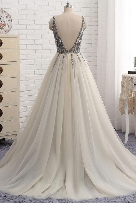 BohoProm prom dresses A-line Deep-V Sweep Train Chiffon Sequin Ivory Prom Dresses ASD26797