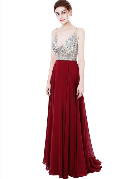BohoProm prom dresses A-line Deep-V  Sweep Train Chiffon Sequined  Red Prom Dresses 3027