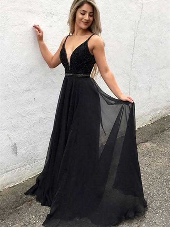 BohoProm prom dresses A-line Deep-V Sweep Train Rhine Stone Black Prom Dresses 3025