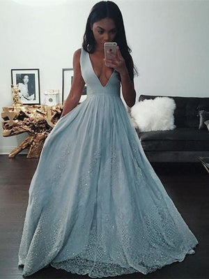BohoProm prom dresses A-line Deep-V Sweep Train Satin Rhine Stone Lace Prom Dresses ASD2504