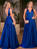 BohoProm prom dresses A-line Deep-V Sweep Train Satin Royal Blue Prom Dress 3065