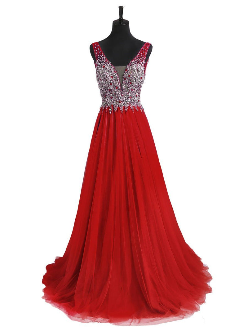 BohoProm prom dresses A-line Deep-V Sweep Train Tulle Beaded Sequined Red Prom Dress 3120