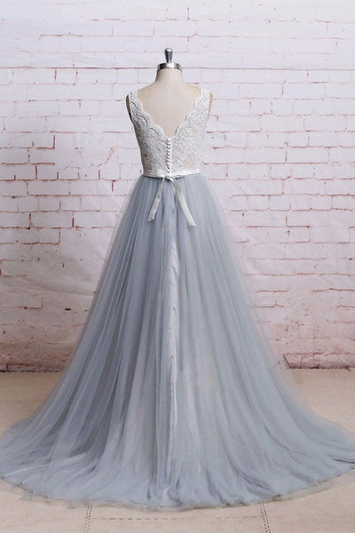 BohoProm prom dresses A-line Deep-V Sweep Train Tulle Lace Beaded Prom Dresses ABC00034