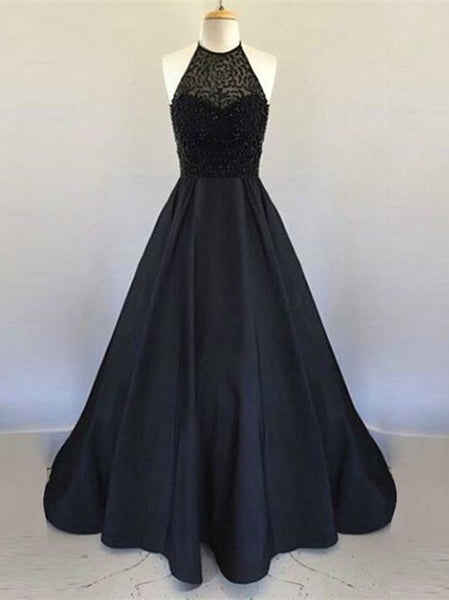 BohoProm prom dresses A-line Halter Floor-Length Satin Beaded Black Prom Dresses ABC00024