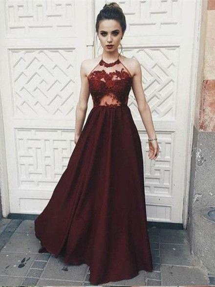 BohoProm prom dresses A-line Halter Floor-Length Satin Burgundy  Prom Dresses With Appliques HX00105