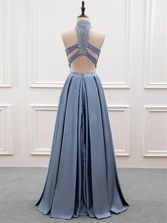 BohoProm prom dresses A-line Halter Floor-Length Satin Prom Dresses With Appliques HX00106