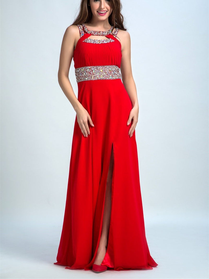 BohoProm prom dresses A-line Halter Floor-Length Satin Sequined Red Prom Dresses 2928