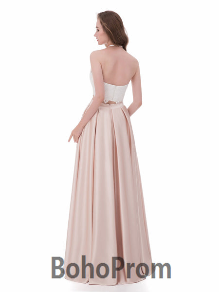 BohoProm prom dresses A-line Halter Floor-Length Satin Two Piece prom Dresses 3052