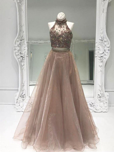 BohoProm prom dresses A-line Halter Floor-Length Tulle Two Piece Prom Dresses With Rhine Stones HX0052