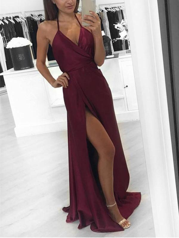 BohoProm prom dresses A-line Halter Sweep Train Satin Simple Prom Dresses HX00145