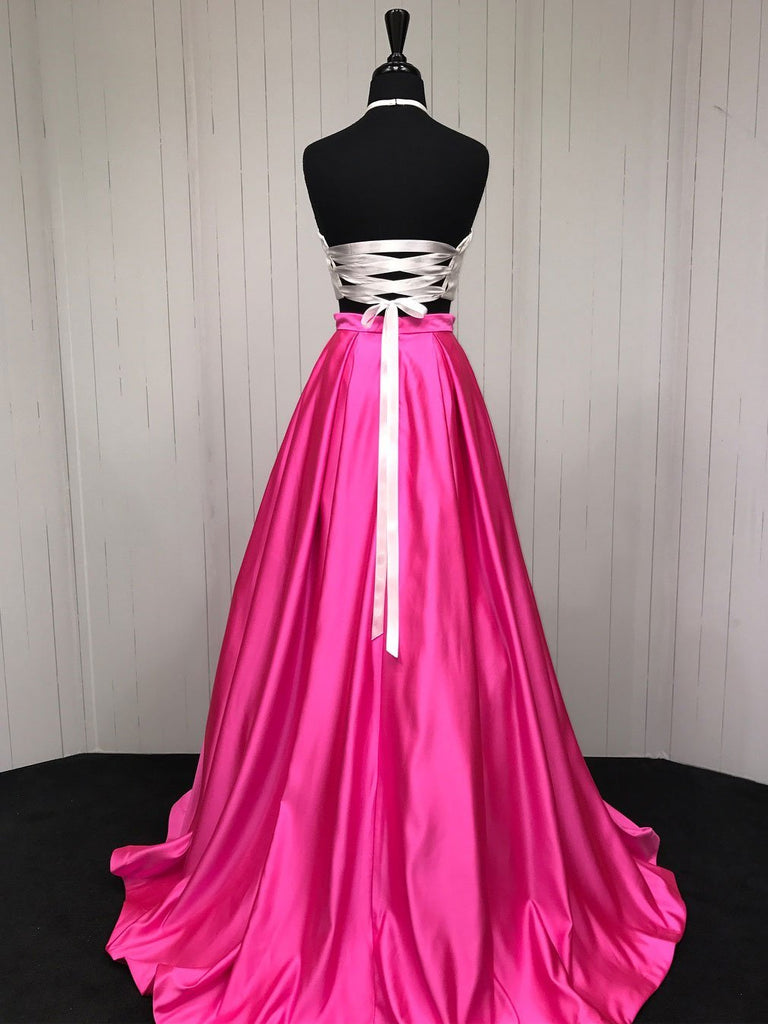 BohoProm prom dresses A-line Halter Sweep Train Satin Two Piece Lace Up Prom Dress 3042