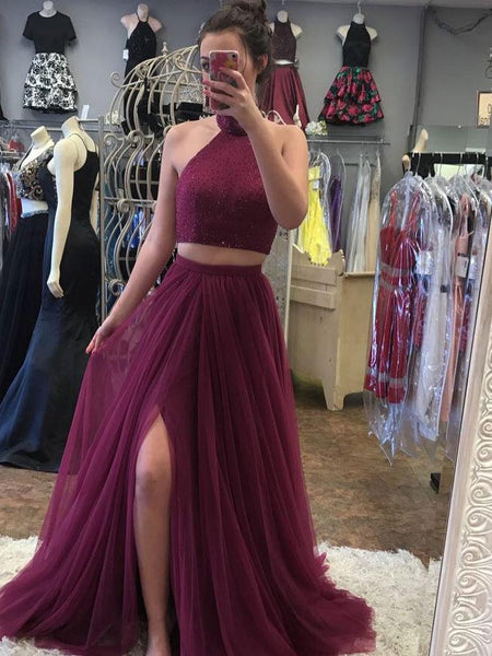 BohoProm prom dresses A-line Halter Sweep Train Tulle Rhine Stone Two Piece Burgundy Prom Dresses 3032