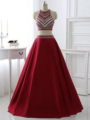 BohoProm prom dresses A-line High-Neck Floor-Length Satin Rhine Stone Two Piece  Prom Dresses ASD2503