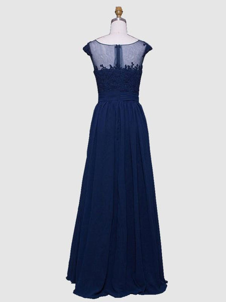 BohoProm prom dresses A-line Illusion Floor-Length Chiffon Appliqued Prom Dresses APD2617