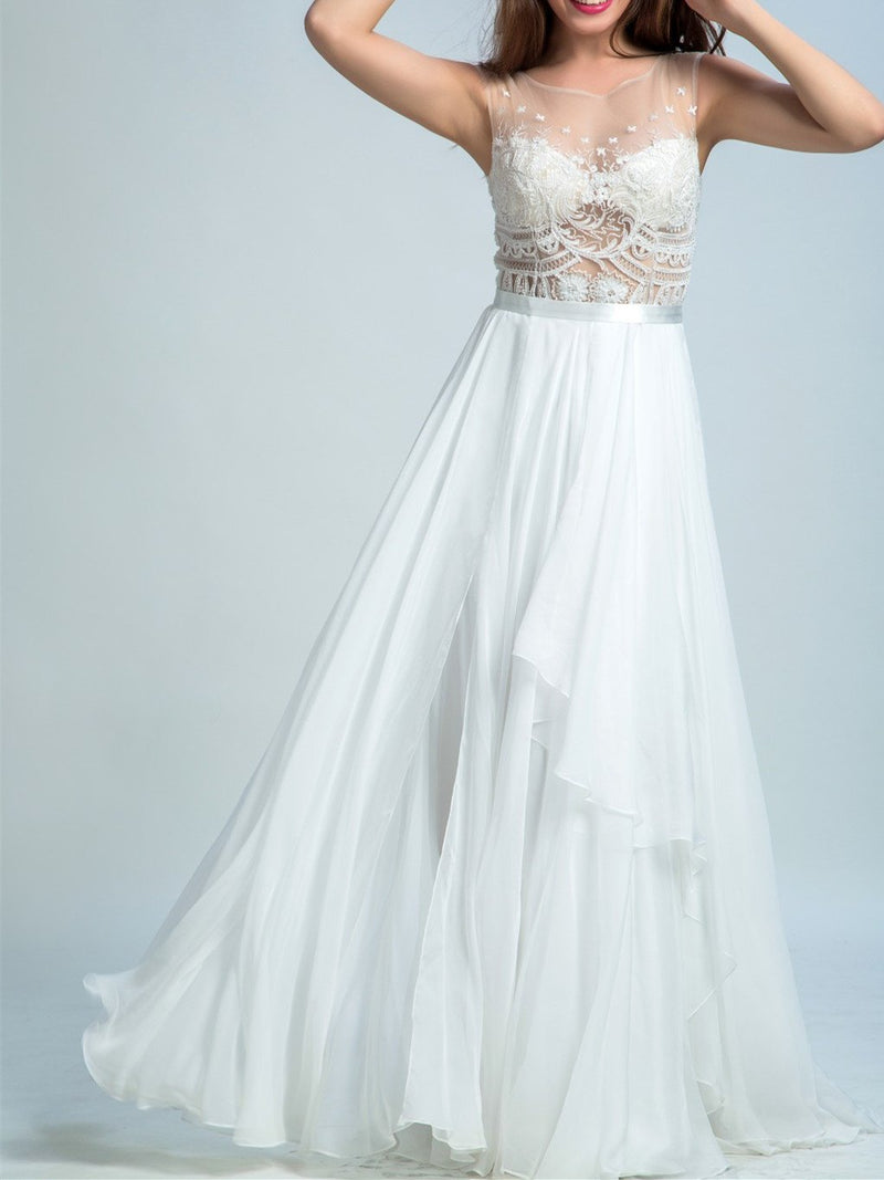 BohoProm prom dresses A-line Illusion Floor-Length Chiffon Lace White Prom Dresses 2921
