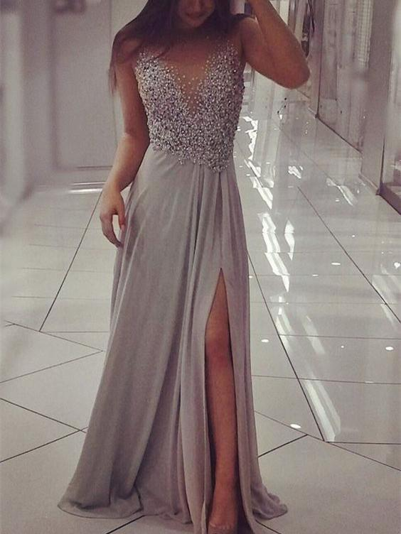 BohoProm prom dresses A-line Illusion Floor-Length Chiffon Prom Dresses With Sequins HX0062