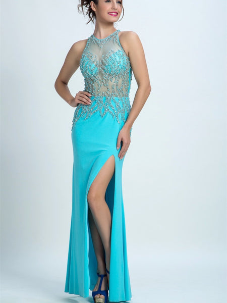 BohoProm prom dresses A-line Illusion Floor-Length Chiffon Rhine Stone Beaded Prom Dresses 2896