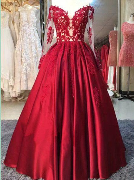 BohoProm prom dresses A-line Illusion Floor-Length Satin Appliqued Beaded Prom Dresses ASD2500