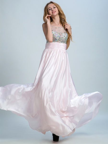 BohoProm prom dresses A-line Illusion Floor-Length Satin Rhine Stone Prom Dresses 2924