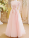 BohoProm prom dresses A-line Illusion Floor-Length Tulle Appliqued Pink Prom Dresses ASD2569