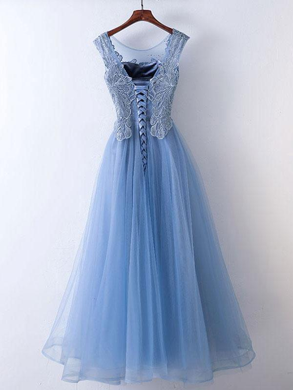 BohoProm prom dresses A-line Illusion Floor-Length Tulle Appliqued Rhine Stone Prom Dress 3113