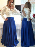 BohoProm prom dresses A-line Illusion Sweep Train Chiffon  Appliqued Beaded Prom Dress 3044