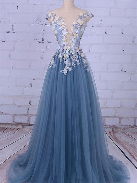 BohoProm prom dresses A-line Illusion Sweep Train Tulle Appliqued Beaded Prom Dresses ASD2673