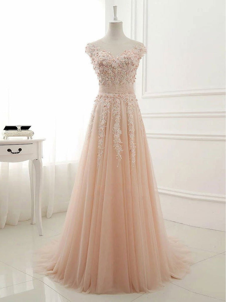 BohoProm prom dresses A-line Illusion Sweep Train Tulle Appliqued Prom Dresses 3020