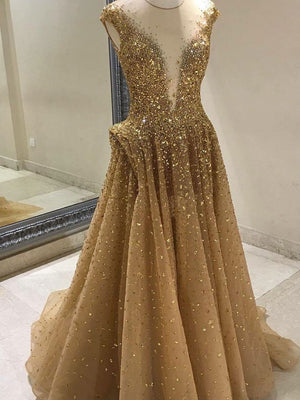 BohoProm prom dresses A-line Illusion Sweep Train Tulle Rhine Stone Prom Dresses 2798