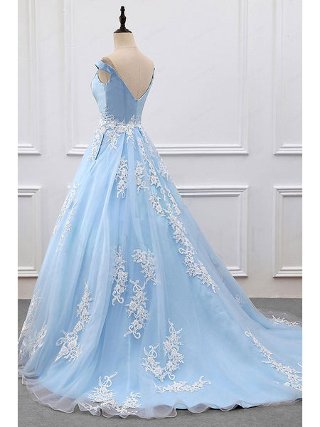 BohoProm prom dresses A-line Off-Shoulder Chapel Train Organza Satin Appliqued prom Dresses 3008